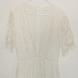 Anthropologie Honey Punch White Lace Maxi Dress